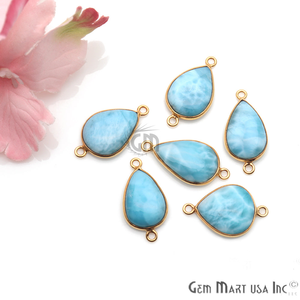Larimar Cabochon Gemstone 19x12mm Gold Plated Connector