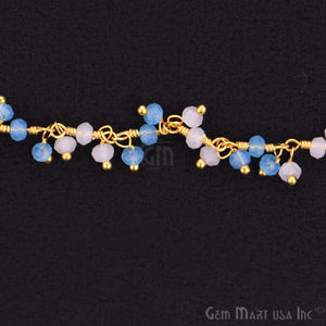 Blue & White chalcedony Gold Wire Wrapped Cluster Dangle Chain - GemMartUSA