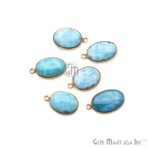 Larimar Cabochon Gemstone 20x13mm Gold Plated Connector