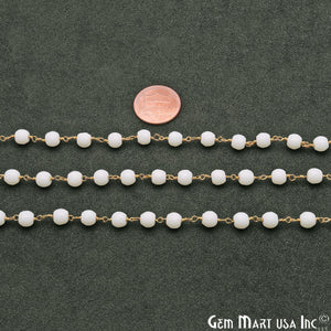 White Agate Beads Gold Plated Wire Wrapped Rosary Chain
