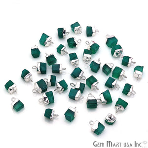 Green Onyx Rough Gemstone 12x8mm Free Form Single Bail Connector (Pick Your Plating) - GemMartUSA