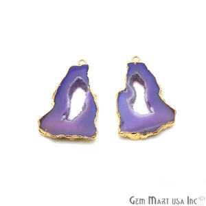 Agate Slice 40x25mm Organic  Gold Electroplated Gemstone Earring Connector 1 Pair