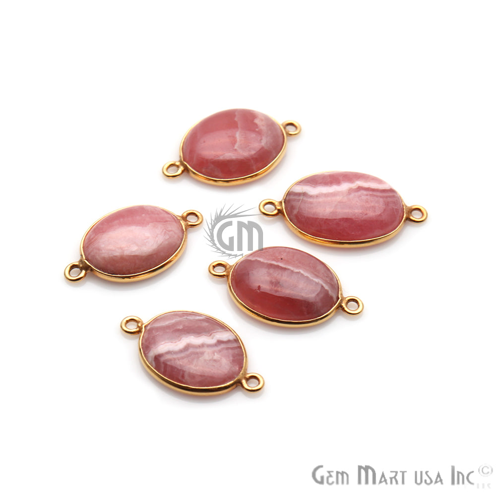 Rhodochrosite Cabochon 14x24mm Oval Gold Plated Double Bail Gemstone Connector