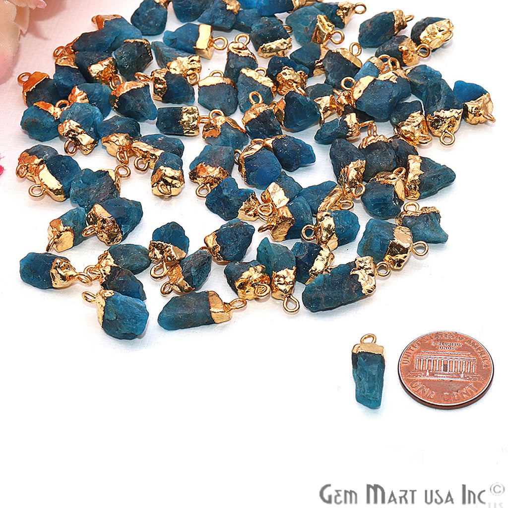 Rough Neon Apatite Gemstone 16x9mm Organic Shape Gold Edged Single Bail Connector Charm