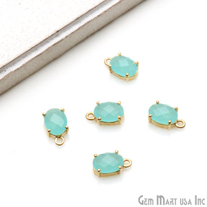 Oval 6x8mm Gold Plated Prong Setting Gemstone Connector (Pick Stone) - GemMartUSA