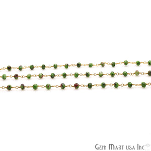 Ruby Zoisite Jade Faceted Beads 4mm Gold Plated Wire Wrapped Rosary Chain - GemMartUSA