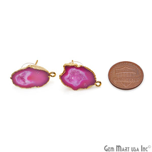 DIY Agate Slice Geode Druzy 16x24mm Gold Electroplated Loop Connector Studs Earrings - GemMartUSA