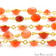 Carnelian 10mm Round Gold Plated Continuous Connector Chain - GemMartUSA