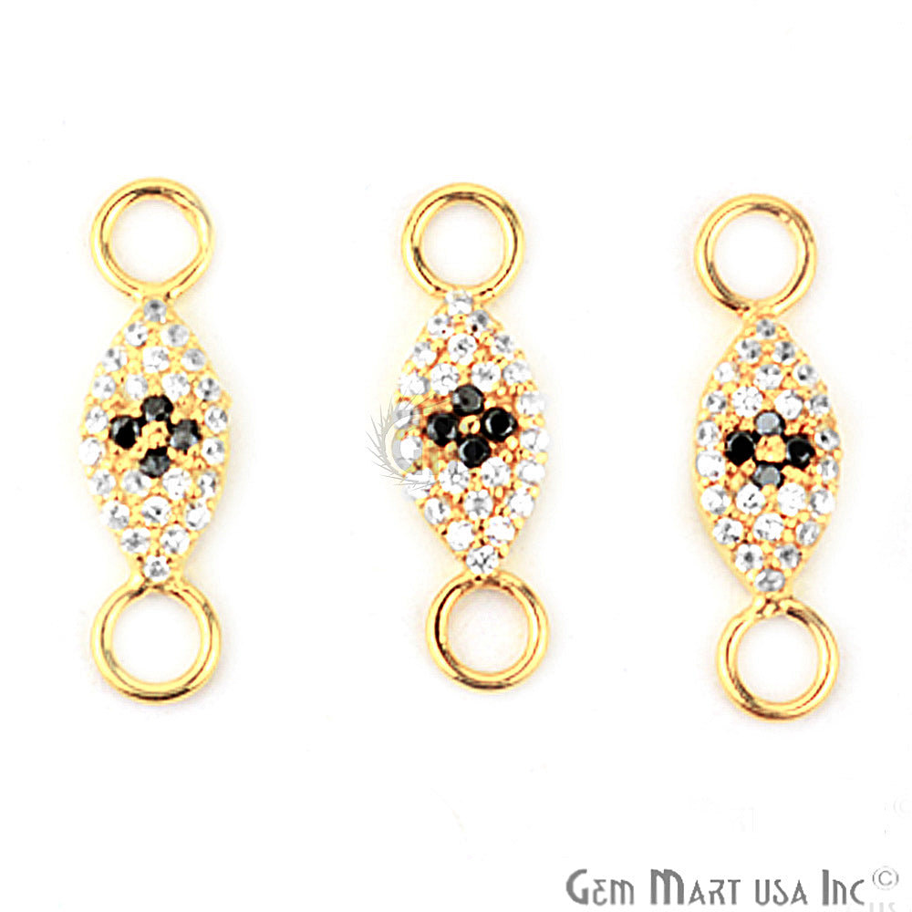 Cubic Zircon Pave 'Marquise' Shape Gold Vermeil Charm for Bracelet Pendants & Necklace