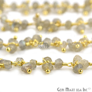 Labradorite Faceted Cluster Beads Gold Wire Wrapped Dangle Rosary Chain
