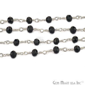 Black Chalcedony Silver Plated Wire Wrapped Beads Rosary Chain