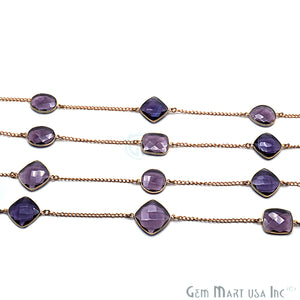 Amethyst 15mm Gold Plated Bezel Link Connector Chain