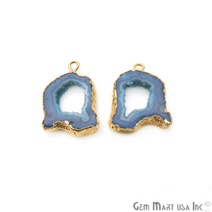 Agate Slice 15x23mm Organic Gold Electroplated Gemstone Earring Connector 1 Pair - GemMartUSA
