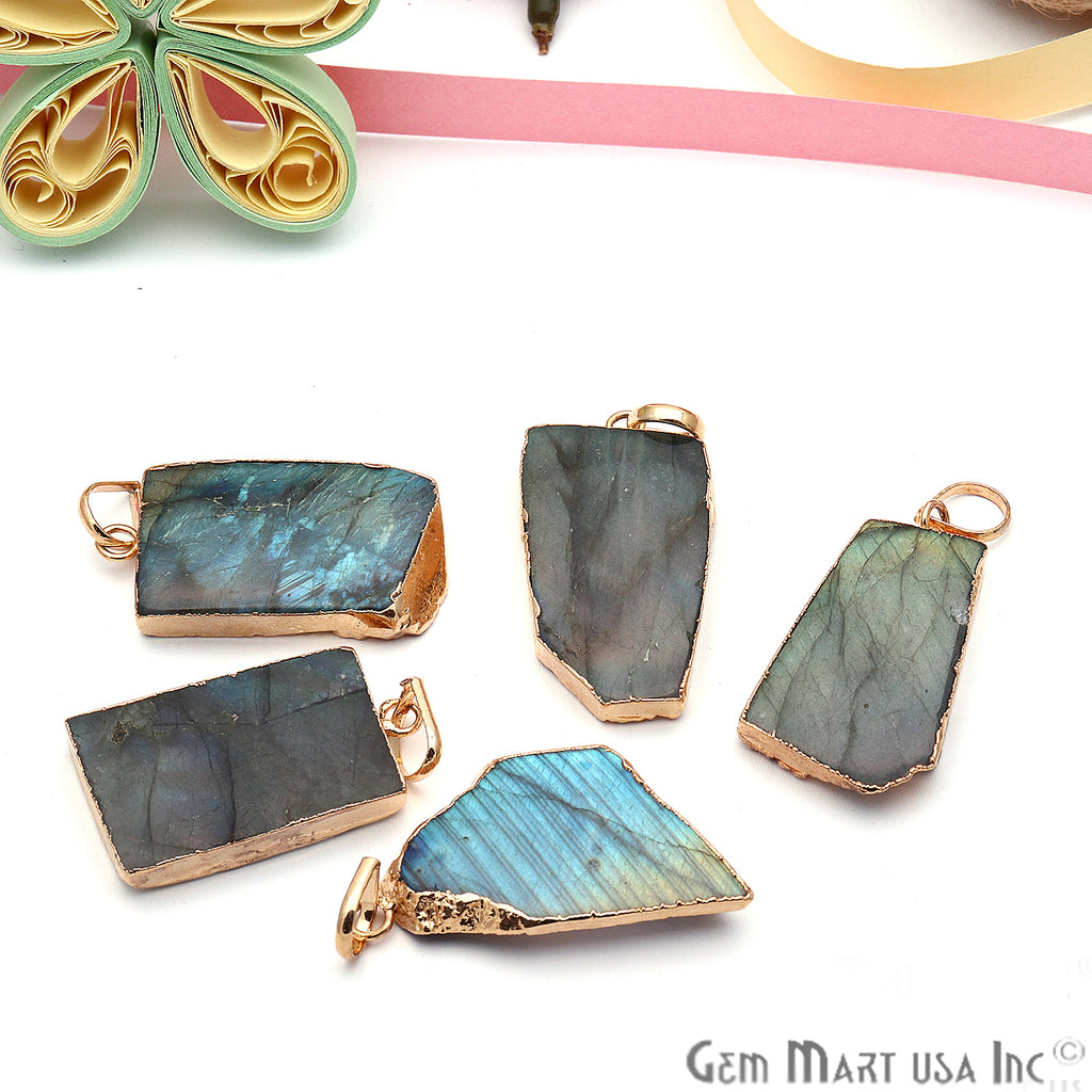 DIY Flashy Labradorite Slice Gemstone 35x20mm Gold Edge Necklaces Pendant