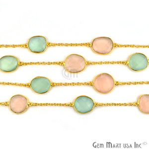Multi Color Stone 10-15mm Gold Plated Link Bezel Connector Chain - GemMartUSA