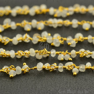 Rainbow Moonstone Faceted Beads Gold Wire Wrapped Cluster Dangle Rosary Chain - GemMartUSA