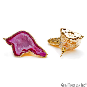 DIY Agate Slice Geode Druzy 23x40mm Gold Electroplated Loop Connector Studs Earrings - GemMartUSA