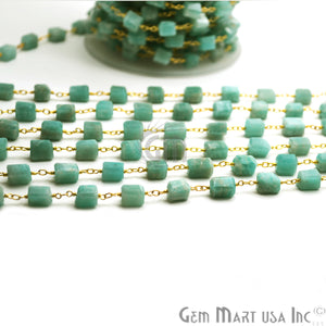 Amazonite Large Beads Gold Wire Wrapped Rosary Chain