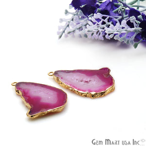 Agate Slice 38x26mm Organic Gold Electroplated Gemstone Earring Connector 1 Pair - GemMartUSA