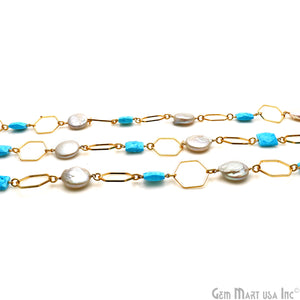 Turquoise & Pearl With Gold Hexagon Finding Rosary Chain
