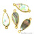 Abalone 10x20mm Pears Shape Gold Electroplated Double Bail Gemstone Connector - GemMartUSA