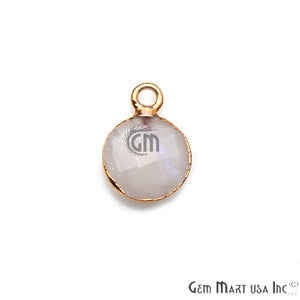 Rainbow Moonstone 10mm Round Gold Electroplated Gemstone Connector (Pick Bail & Lot Size) - GemMartUSA