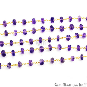 Amethyst Beads Gold Plated Wire Wrapped Rosary Chains