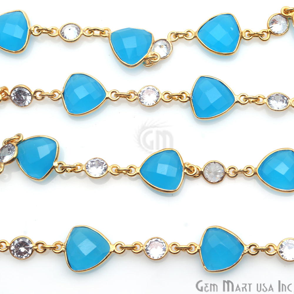 Sky Blue Chalcedony With Crystal Gold Plated Bezel Link Continuous Connector Chain