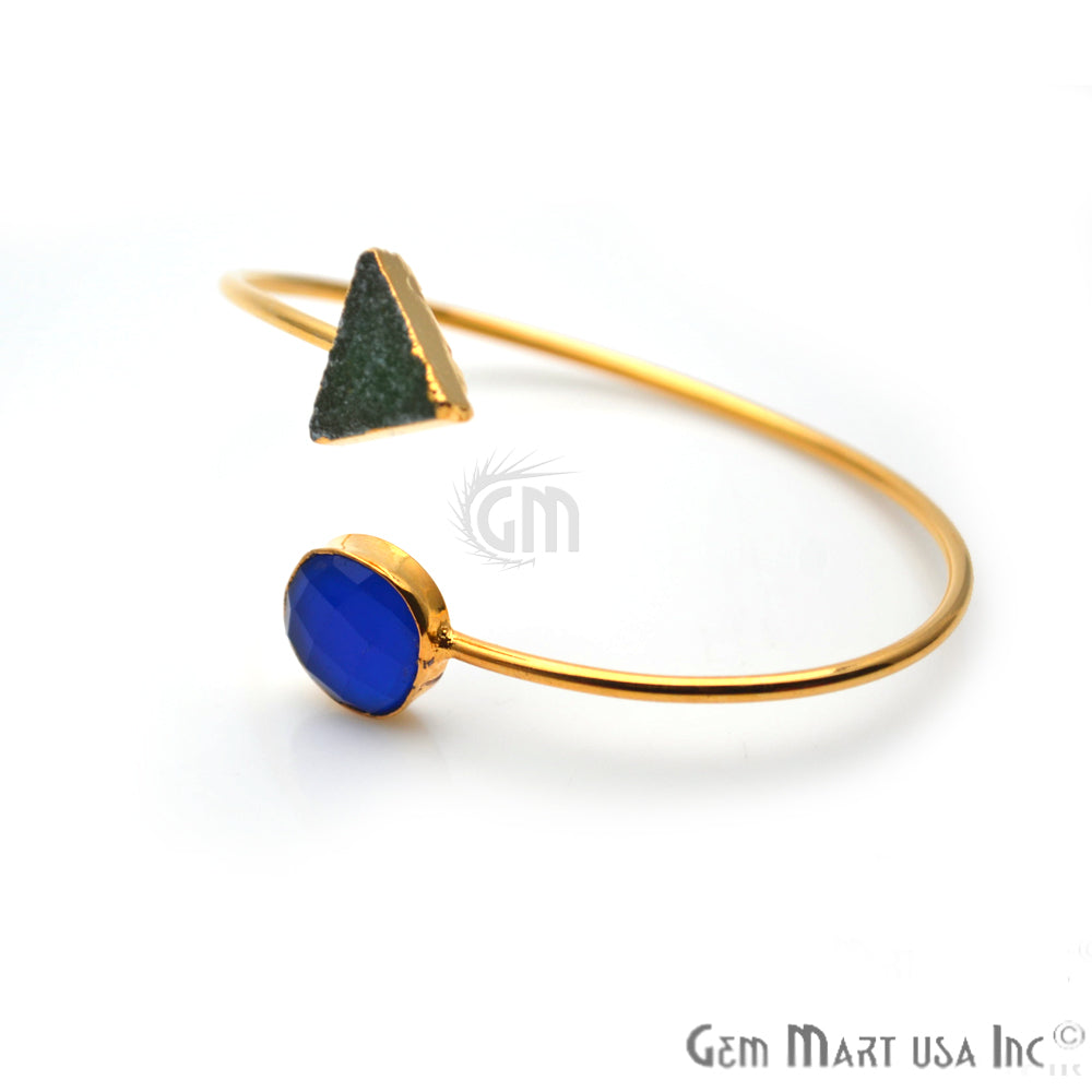 Blue Chalcedony with Green Druzy Gold Plated Adjustable Bangle Bracelet