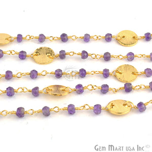 Amethyst Beads With Round Finding Gold Wire Wrapped Rosary Chain