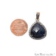 Blue Sapphire With Cubic Zircon 25x20mm Gold Vermeil Necklace Pendant