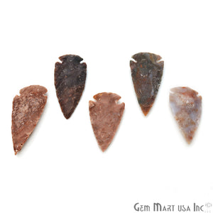 5pc Lot Arrowhead Cut Gemstones, 55x27mm Handcrafted Stone, Loose Gemstone, DIY Pendant, DIY Jewelry - GemMartUSA