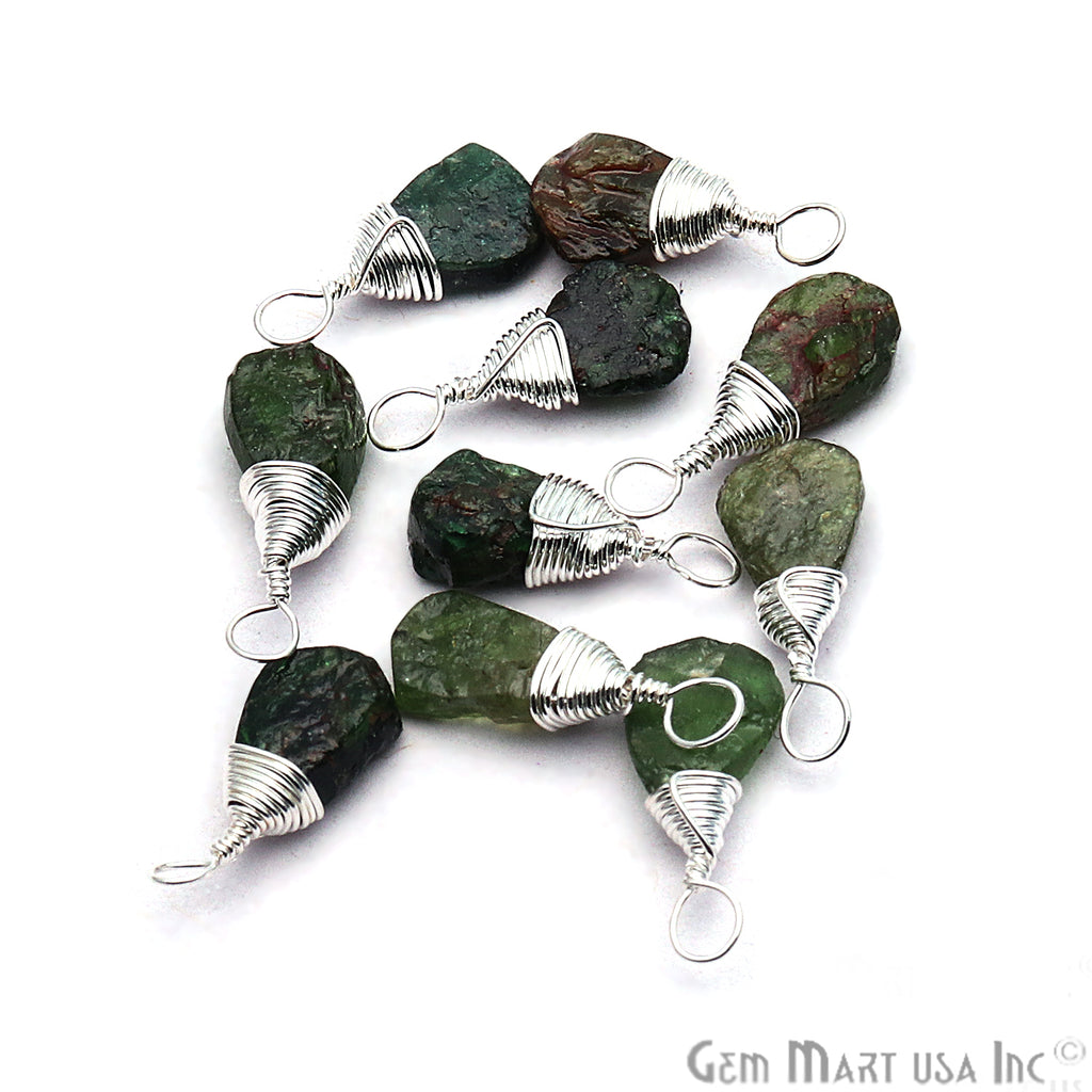 Green Garnet Silver Wire Wrapped 15x7mm Jewelry Making Drop Shape Connector