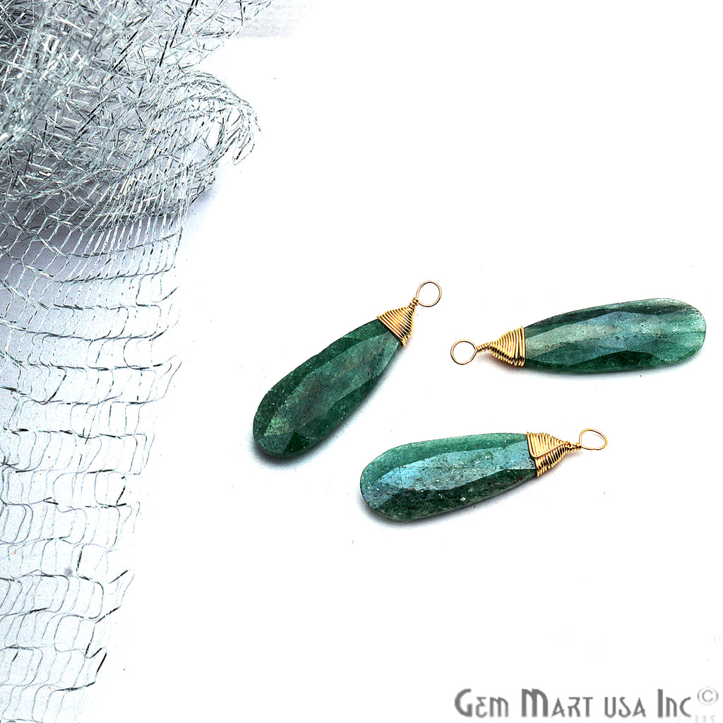 Emerald Gold Wire Wrapped 32x8mm Jewelry Making Pears Shape Connector