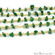 Aventurine Nugget Chip Gold Wire Wrapped Beads Rosary Chain - GemMartUSA