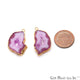 Agate Slice 18x27mm Organic Gold Electroplated Gemstone Earring Connector 1 Pair - GemMartUSA