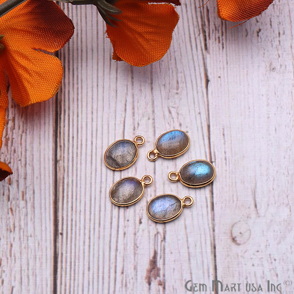 Labradorite Gemstone Cabochon 7x9mm Oval Shaped Connector (Pick Your Bail)
