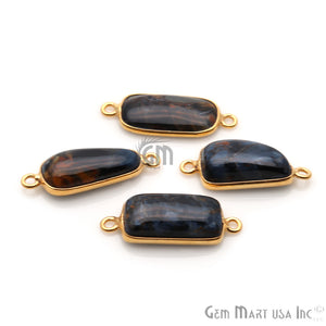 Pietersite Cabochon 9x22mm Gold Plated Double Bail Gemstone Connector