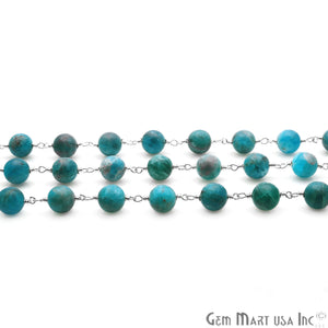 Neon Apatite Smooth Beads 8mm Silver Plated Wire Wrapped Gemstone Rosary Chain - GemMartUSA