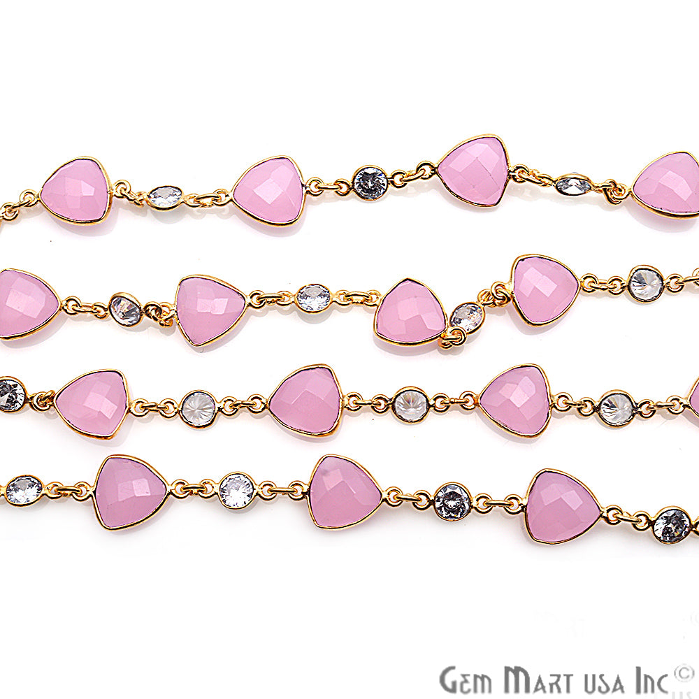 Rose Chalcedony With Crystal Gold Plated Bezel Link Continuous Connector Chain