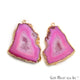 Agate Slice 32x41mm Organic Gold Electroplated Gemstone Earring Connector 1 Pair - GemMartUSA