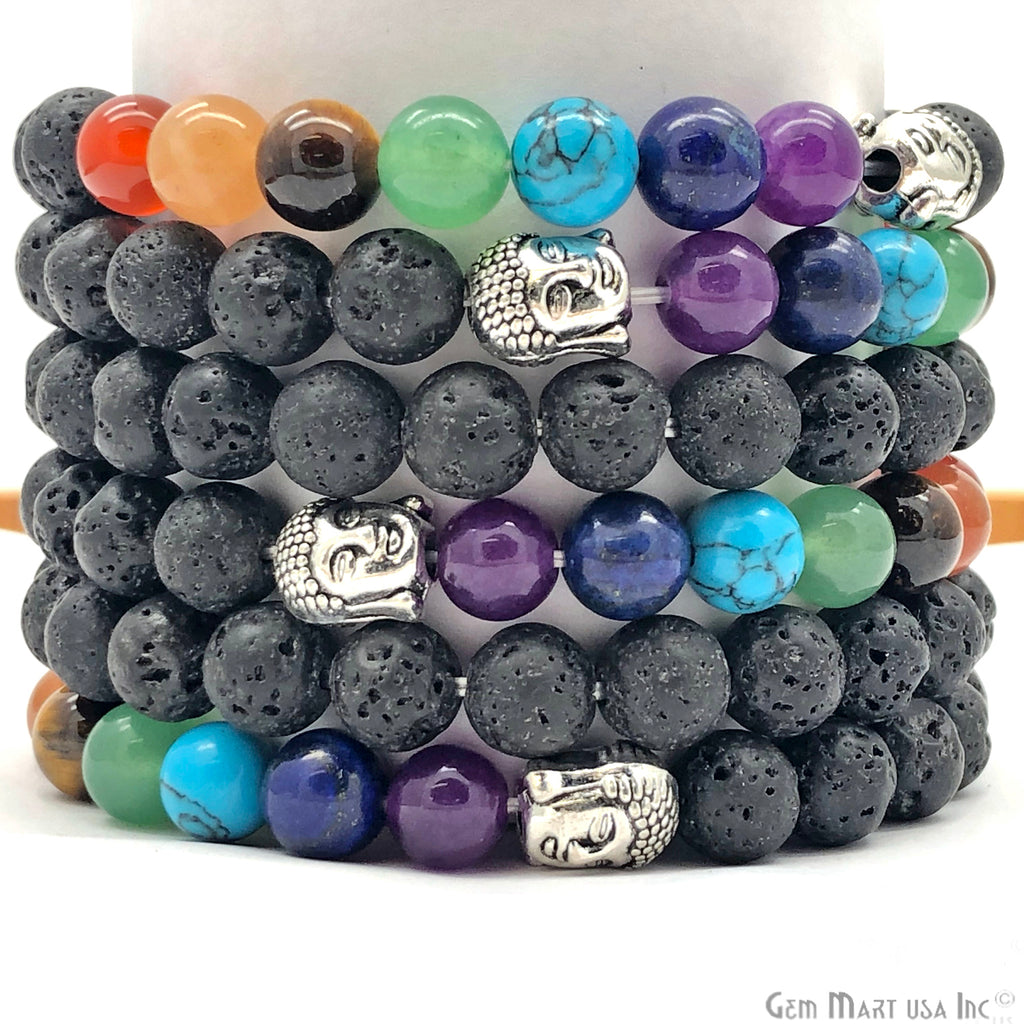 black lava and 7 chakra maditation bracelets