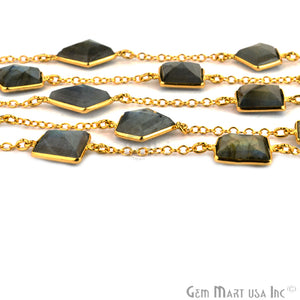 Labradorite 10-15mm Fancy Cut Stone Gold Plated Bezel Connector Chain - GemMartUSA
