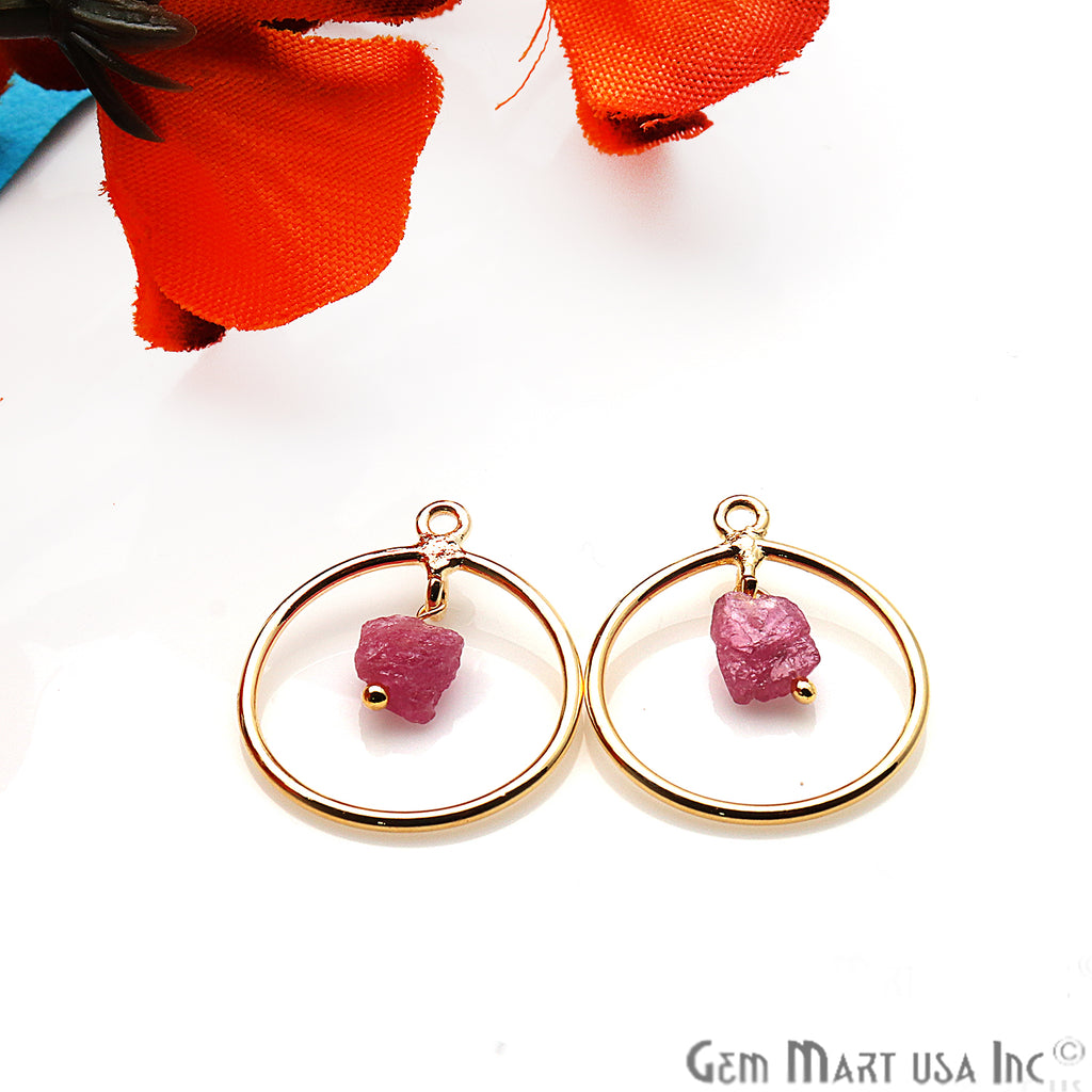 DIY Pink Tourmaline Rough Gemstone Gold Plated Connector - 1pc