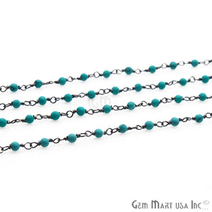 Turquoise Green Smooth 2-2.5mm Beaded Oxidized Wire Wrapped Rosary Chain - GemMartUSA