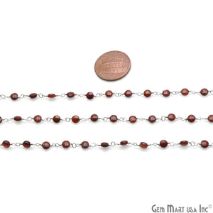 Pink Garnet Faceted 3-4mm Silver Wire Wrapped Rosary Chain