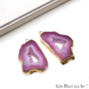 Agate Slice 26x46mm Organic  Gold Electroplated Gemstone Earring Connector 1 Pair - GemMartUSA