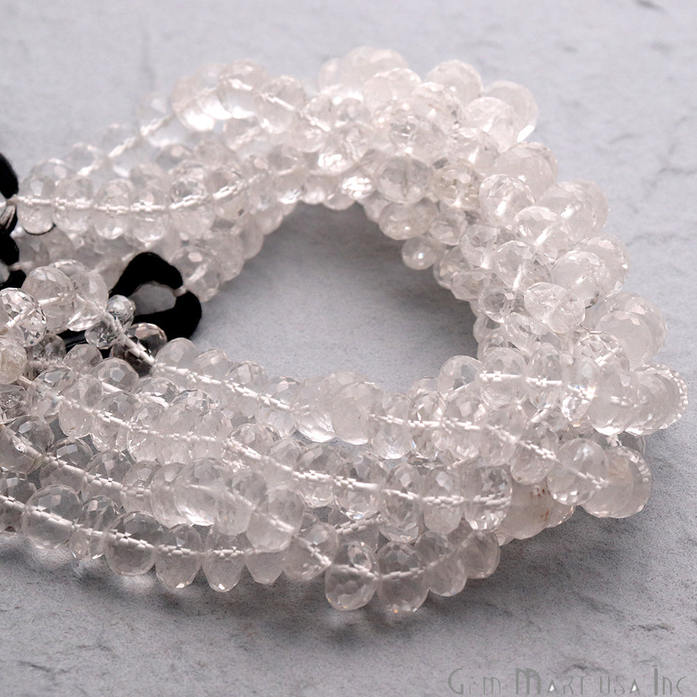 Crystal Faceted Round Shape 7-8mm Gemstone Rondelle Beads