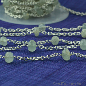 Prehnite Beads Chain, Silver Plated Wire Wrapped Rosary Chain