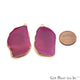 Agate Slice 42x23mm Organic Gold Electroplated Gemstone Earring Connector 1 Pair - GemMartUSA